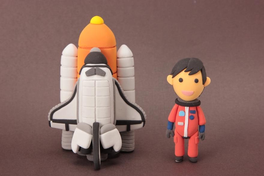 アメリカ航空宇宙局NASAをイメージしたクレイ人形
